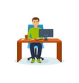 man working at computer at table sipping coffee vector image vector image