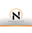 n letter logo design with black orange color cool vector image