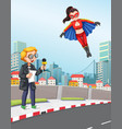 news reporter urban scene with super hero vector image