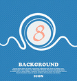 number Eight icon sign Blue and white abstract vector image