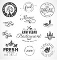 raw vegan restaurant farm fresh organic labels vector image