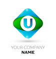 Realistic letter u logo in colorful rhombus