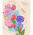 retro invitation card with flowers bouquet with vector image