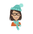 Smiling Girl in a Glasses Blue Hat and Scarf vector image