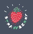 strawberry fruit on dark vector image vector image