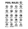 swimming pool rules set icons and symbol for vector image vector image