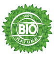 symbol bio and green leaves vector image