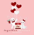 valentines day background with cute rabbits couple vector image vector image