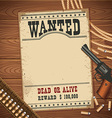 Wanted poster with western objects on wood texture vector image vector image