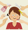 woman getting beauty services with many hands vector image vector image