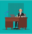 businessman is sitting at the table at work flat vector image