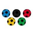 Five colored footballs on a white background vector image