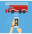 emergency mobile phone call fire truck fireman vector image
