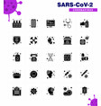 25 solid glyph set corona virus epidemic icons vector image vector image
