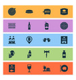 alcohol icons set with geolocation of beer menu vector image