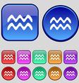 Aquarius icon sign A set of twelve vintage buttons vector image vector image