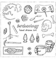 archeology hand drawn sketch set of vector image vector image