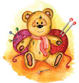 bear painted in watercolor vector image
