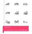 black construction transport icon set vector image vector image