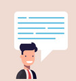 businessman or manager close-up with a speech vector image vector image