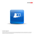 businessman victory graph icon - 3d blue button vector image