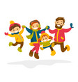caucasian family jumping in the snow in winter vector image