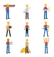 construction engineering industrial workers vector image vector image