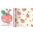 cute apple - seamless texture pattern vector image vector image
