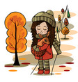 cute girl with a deer in her hands in the autumn f vector image