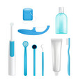 Dental cleaning tools set vector image
