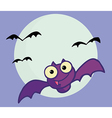 Flying Purple Vampire Bat And Full Moon vector image vector image