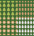 ginger cookies seamless patterns christmas and vector image vector image