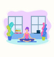 girl doing yoga in lotus position at home vector image