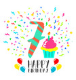 happy birthday card for 7 year kid fun party art vector image vector image