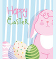 happy easter pink rabbit with eggs striped vector image