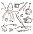 kitchenware and apron cooking tools saucepan and vector image vector image