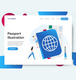 landing page template with passport concept vector image