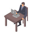 man at office desktop icon isometric style vector image