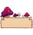 mushroom on wooden board vector image vector image