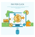 Pay per click internet advertising model vector image vector image