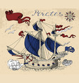 pirate sailboat with banner and text vector image vector image