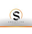 s letter logo design with black orange color cool vector image
