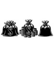 set bag and coins dollar monochrome vector image