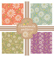 set of decorative pastel flowers patterns vector image