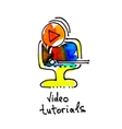 sketch watercolor icon of video tutorials vector image vector image