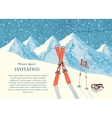 Ski winter mountain landscape card vector image vector image