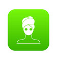 spa facial clay mask icon digital green vector image