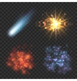 Space stars comet and explosion on transparence vector image vector image