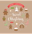 sweet christmas and merry christmas text vector image