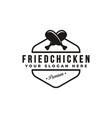 vintage hipster retro emblem fried chicken logo vector image vector image